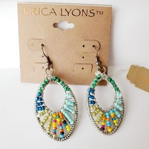 Erica Lyons Silver Tone Multicolor Dangle Earrings